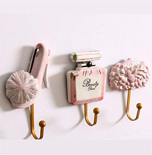 (Wall Hook Rack, Tuscom Resin Shell Starfish Lady Shoes Perfume Bottle Bag Patterned Decorative Hooks Rack Hangers for Hanging Clothes Coats Towels Keys Hats Metal Resin Hooks Wall Mounted (Pink))