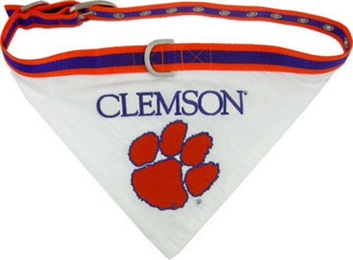 NCAA BANDANA - CLEMSON TIGERS DOG BANDANA with Reflective & Adjustable DOG COLLAR, Small