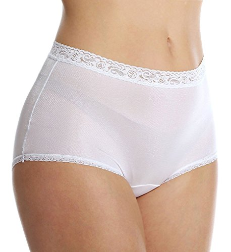 ( Lorraine Nylon Full Brief With Lace Trim Panty (LR102) 12/Pearl )