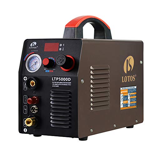 Lotos LTP5000D 50Amp Non-Touch Pilot Arc Plasma Cutter, Dual Voltage 110V/220V, 1/2 Inch Clean Cut, Brown from Lotos Technology