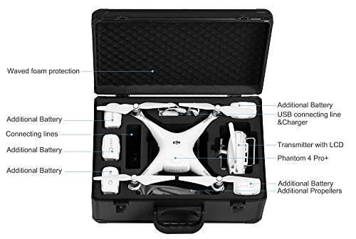 DJI Phantom 4 PRO V2.0 Quadcopter Drone with 1-inch 20MP 4K Camera KIT, 2 Total DJI Batteries, 32GB Micro SDXC Card, Card Reader + Snap on Prop Guards + Range Extender + Charging Hub + Waterproof Case