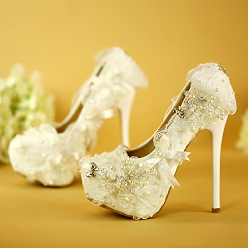 Minitoo Ladies Luxuriant Applique Slip-On Satin Bridal Wedding Hidden Platform Pumps White-14cm Heel UwCmJJKifl
