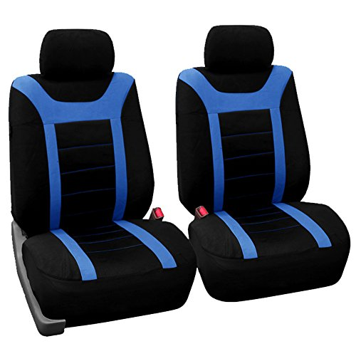Seat Sport Bucket (FH Group FH-FB070102 Pair Set Sports Bucket Seat Covers Airbag Ready Blue/Black - Fit Most Car, Truck, SUV, or Van)