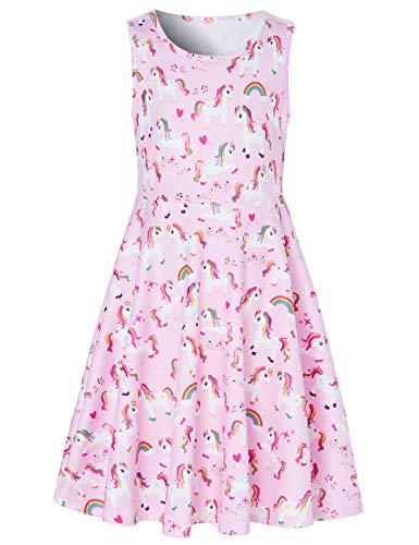 RAISEVERN Toddler Girl's Pink Unicorn Dress Sleeveless Sundress Cute Round Neck Rainbow Stars Dresses Summer Holiday Beachwear for Child 4-5T