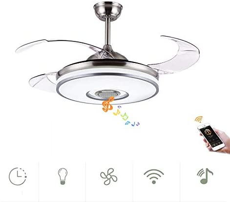 Fandian 42in Modern Smart Ceiling Fan with Lights Bluetooth Speaker Chandelier Lighting Fixtures, Remote Control, Retractable Blades, 3 Light Colors, for Living room, Bedroom 42in-Siver 2