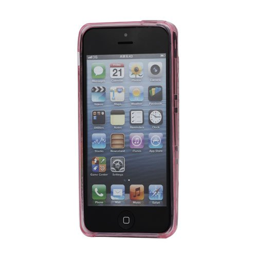 iProtect TPU Gel Schutzhülle iPhone 5 / 5S Soft Case retro Kassette pink