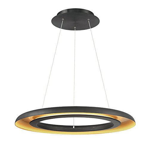 - WAC Lighting PD-21828-BK/GR Omega Pendant LED Light Fixture, Black Gold Ribbed