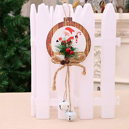 Valentine Door Decoration Ideas (Nesee Pretty Ribbon Bell Decoration Pendants Printed Xmas Tree Snowman Love Heart Sequins Hanging Ornaments DIY Art Craft for Christmas Day Birthday Party Club)