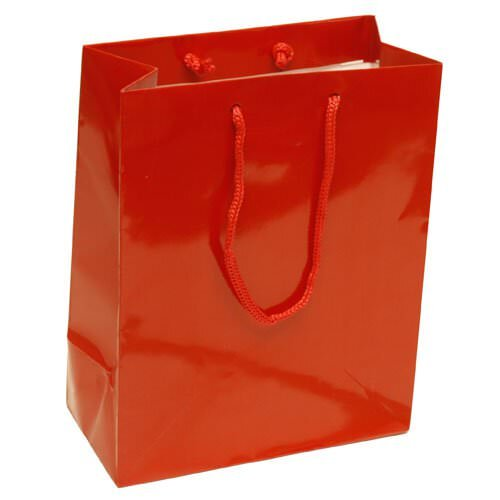 JAM Paper Glossy Gift Bags with Rope Handle - Medium - 8 x 4 x 10 - Red - Sold Individually