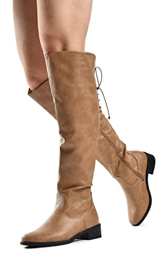 LUSTHAVE Women's Knee High Flat Boots Lace Up Cushioned Lining Drawstring Tall Western Riding Boots Khaki 6