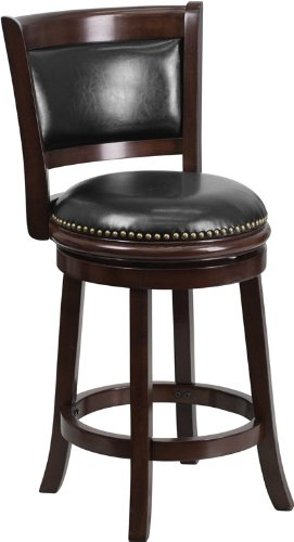 24'' Cappuccino Wood Counter Height Stool w/  Black Leather Swivel Seat (Wood Counter Height Stools compare prices)