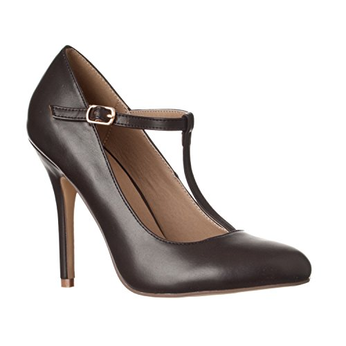 Womens T-strap Pumps - Riverberry Women's Sadie Round Toe T-Strap High Heel Pumps, Coffee PU, 9