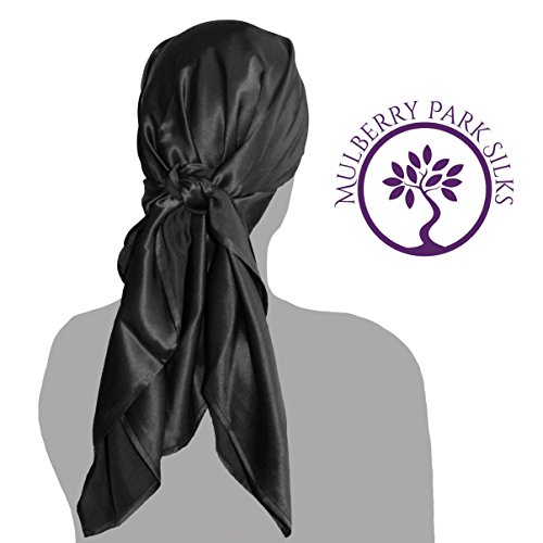 (Pure Silk Hair Black Head Scarf, 100% Pure Mulberry Silk, OEKO-TEX Certified, Provides Chemotherapy Comfort and Supports Hair Regrowth)