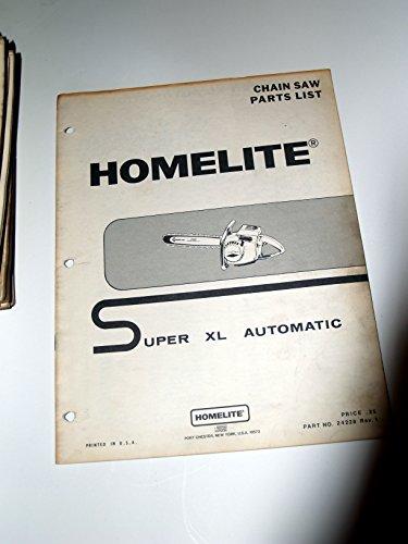 Homelite Super XL Automatic Chain Saw Parts List Manual