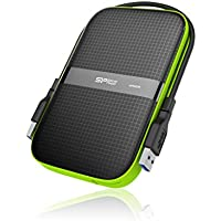 500GB Silicon Power Armor A60 Shockproof Portable Hard Drive - USB3.0 - Black/Green Edition