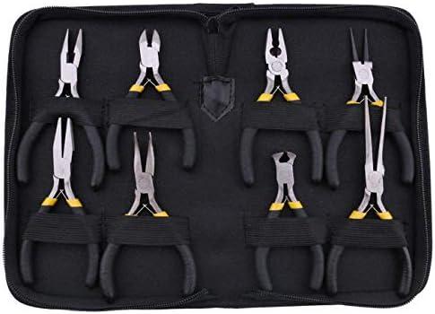SSY-YU 8本プライヤーセット、歯とロングノーズ、フラットジョー、ラウンドカーブニードル対角ノーズワイヤーエンドブラックグリップ&保護ポーチにカッター線審プライヤーを切断 ペンチ 切断工具