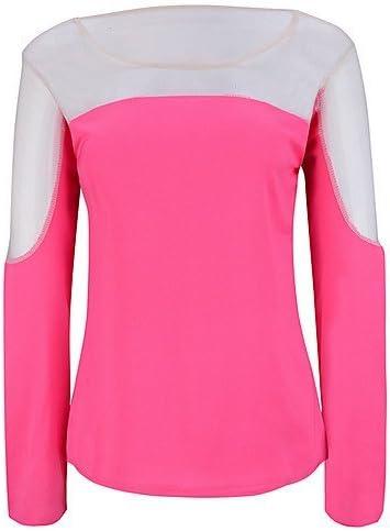 Mujer Camisa Blusa elegante mujer Blusa – Camiseta de mujer – Camiseta de mujer – Rejilla algodón y acrílico manga larga cuello redondo, color Rosa - fucsia, tamaño XL: Amazon.es: Deportes y aire libre