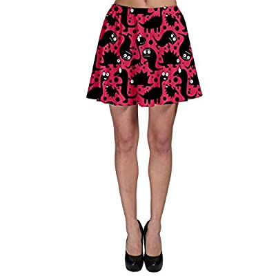 CowCow Pink Pattern Funny Dinosaurs Skater Skirt