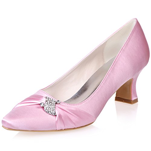 4 For Szxf0723 Toe 7 Satin Wedding Pink 5 Shoe Shoes Uk Rhinestone Pointed Bridal 04 With Low Party Size Uk Heels Women Girls Evening Glitter Sarahbridal qBURZR