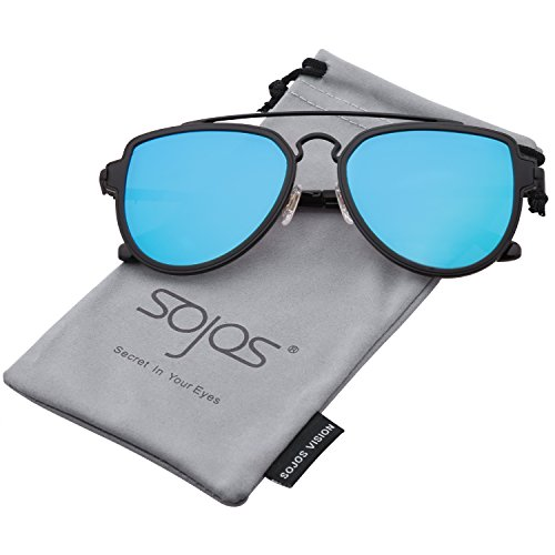 SojoS Fashion Aviator Sunglasses Polarized Mirrored Lens Double Bridge SJ1051 Black Frame/Blue Polarized - Lenses Circle Cheap Free Shipping