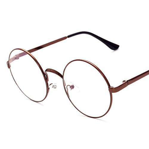 e18a10c9489a Lovef Large Oversized Metal Frame Clear Lens Round Circle Vintage Eye  Glasses 5.4 2inch - Buy Online in Oman.