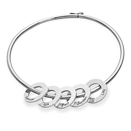 Personalized Bracelet Bangle with Circle Disc Pendants - Custom Multiple Charms 925 Sterling Silver