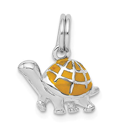 925 Sterling Silver Yellow Enamel Turtle Pendant Charm Necklace Sea Life Animal Snake Reptile Fine Jewelry Gifts For Women For Her ()