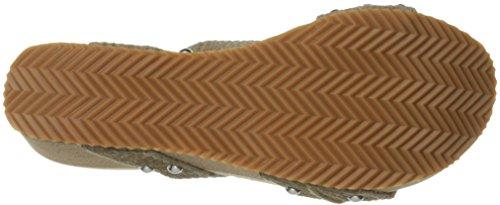 Taupe Sandalo Con Zeppa Di Volatile