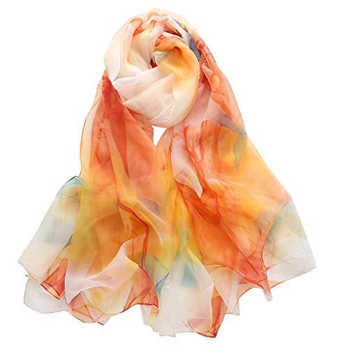 - CZYCO Women Ladies Gradient Flower Simulation Silk Pattern Long Soft Shawl Classical Warm Winter Scarf Gauze Kerchief (Orange)
