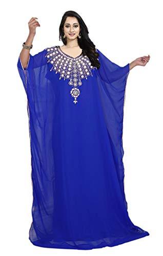 KoC Women's Kaftan Maxi Dress Farasha Caftan KFTN107-Royalblue
