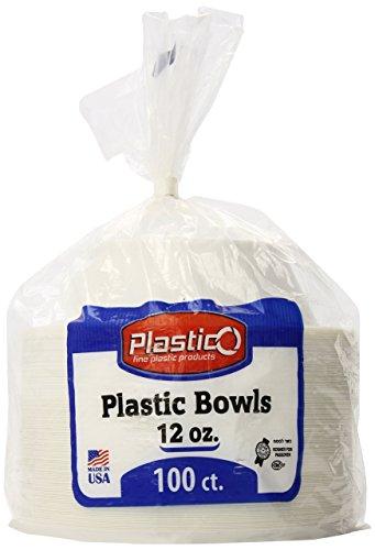 (Plastico 12 Ounce  Plastic Bowls, White, 100 Count)