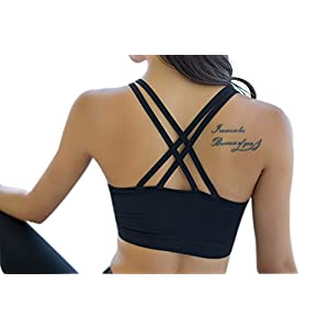 Helisopus Women's Strappy Crisscross Back Comfort Active Support Black Yoga Gym Sports Bra Tops (L, Black)