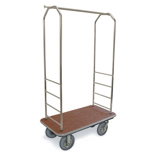 csl-2099gy-020-stainless-steel-finish-bellmans-cart-with-rectangular-tan-carpet-base-gray-bumper-clo