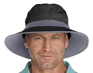 Coolibar UPF 50+ Men's Matchplay Golf Hat - Sun Protective (Small/Medium- Black/Carbon)