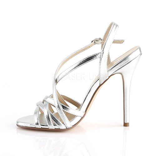 Strappy PleaserUSA womens criss Metallic sandals metallic cross Amuse strap Silver silver 13 aqHqwdr