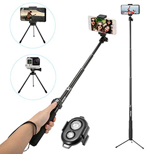 Selfie Stick Bluetooth, GLISTENY Extendable Monopod with Tripod Stand Adjustable Clamp Skidproof Grip Handle and Bluetooth Remote Shutter for Smartphones, GoPro, Compact Cameras (Black) by Glisteny