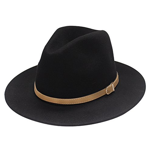 City Hunter Pmw91 Wide Brim Wool Felt Fedora Hat -3 Colors (Small-Medium, PMW90N BLACK) (Felt Fedora Hats)