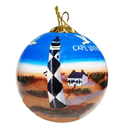 Art Studio Company Hand Painted Glass Christmas Ornament - Cape Lookout Lighthouse