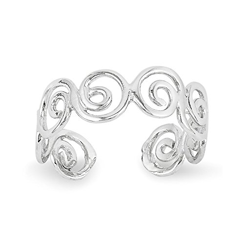 14k White Gold Polished Swirl Toe Ring - White Gold Polished Swirl