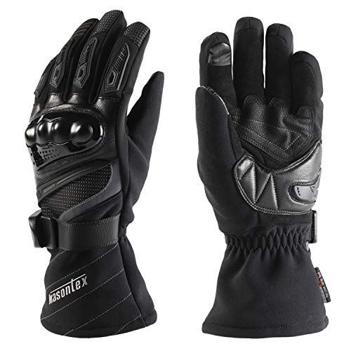 ANSOPO Motorcycle Gloves Cycling Gloves Winter Waterproof Touchscreen Winter Warm Protective Gloves for Man and Women (Black, M)