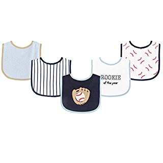 Luvable Friends Unisex Baby Cotton Terry Drooler Bibs with PEVA Back, Baseball, One Size
