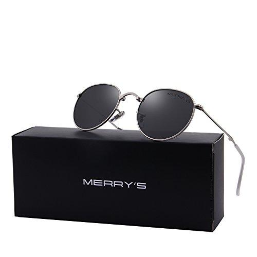 MERRY'S Men Retro Folded Polarized Sunglasses Women Classic Oval Sunglasses S8093 (Silver&Black, - Folded Glasses