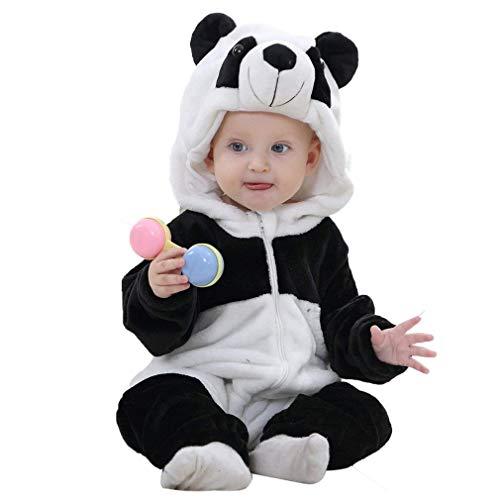 FIZUOXVE Newborn Infant Baby Boys Girls Winter Cute Panda Hooded Romper Costume Warm Fleece Jumpsuit 18-24 -