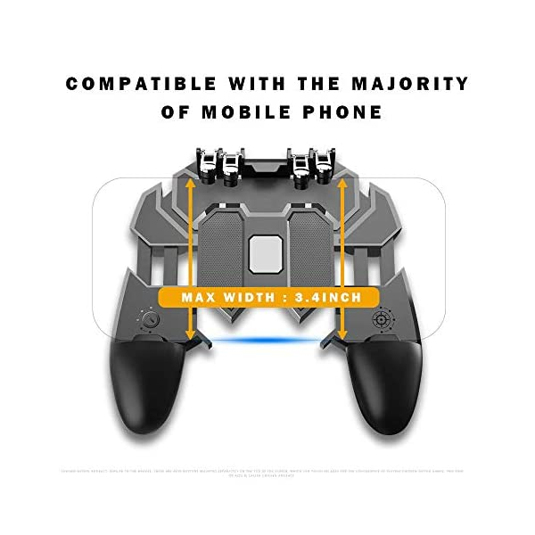"""NOYMI PUBG Mobile Game Controller - L2R2 Gaming Grip Mobile Joystick Gamepad Trigger Controller with Sensitive Shoot Aim & Fire Trigger for 4.7-6.5"""" iPhone/Android (Black)"""