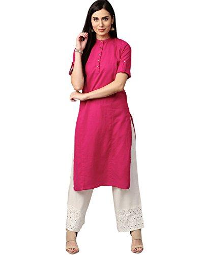 Jaipur Kurti Women Indian Casual Tunic Top Solid Straight Crepe Pink Kurta by Jaipur Kurti