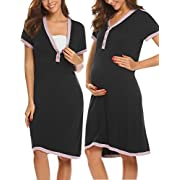 Ekouaer Maternity/Nursing Breastfeeding Sleeveless Nightgown Dress Black S