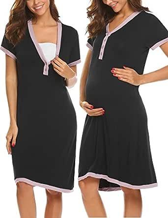 Ekouaer Maternity/Nursing Breastfeeding Sleeveless Nightgown Dress Black S