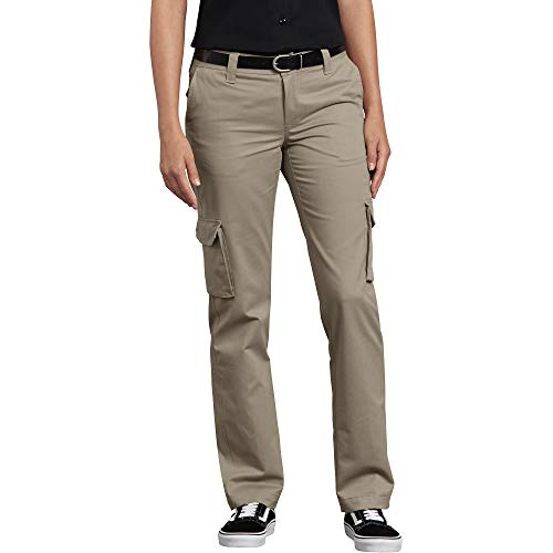 Dickies Women's Relaxed Fit Stretch Cargo Straight Leg Pant, Desert Sand, 14
