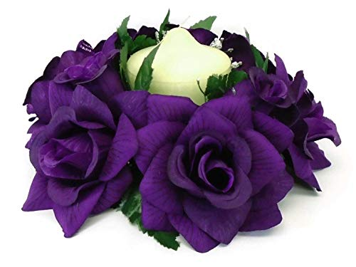 (Phoenix Silk 2 Candle Rings Roses Center Pieces Artificial Velvet Like Flowers 3