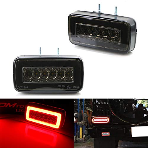 (iJDMTOY Smoked Lens 3-In-1 LED Rear Fog Backup Light Kit For 1986-2018 Mercedes Benz W463 G-Class G500 G550 G55 G63 AMG, Functions as Rear Fog Driving Brake & Reverse Lights)